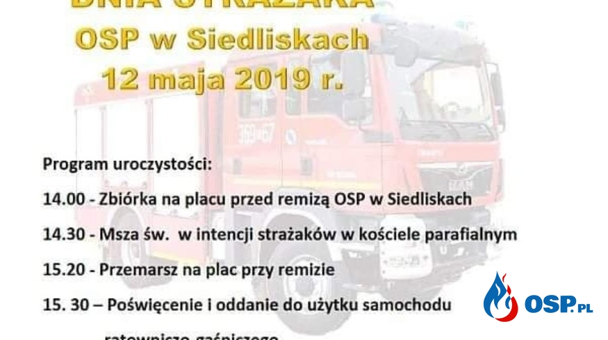 Zaproszenie na poświęcenie samochodu OSP Ochotnicza Straż Pożarna