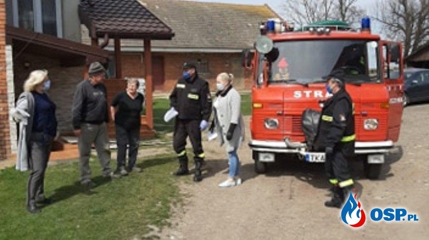 Dostarczenie maseczek ochronnych dla mieszkańców .COVID 19 OSP Ochotnicza Straż Pożarna