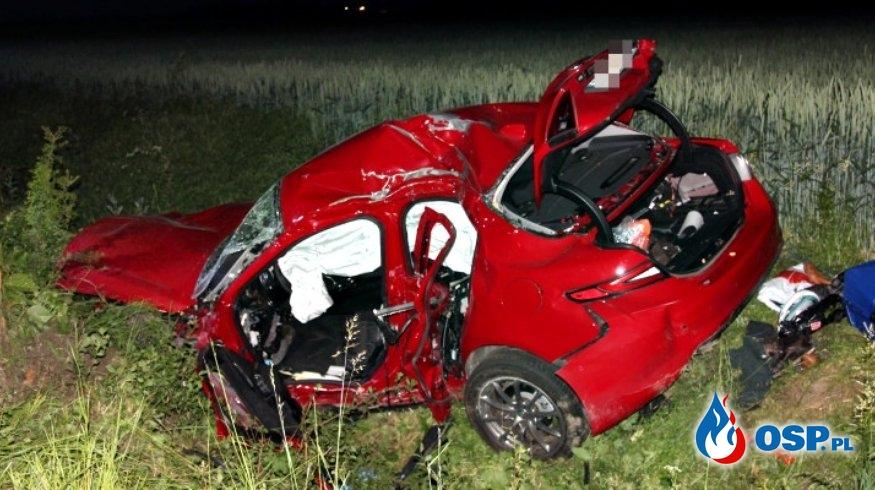 Tragiczny wypadek pod Gostyniem. Auto uderzyło w drzewo i wpadło do rowu. OSP Ochotnicza Straż Pożarna