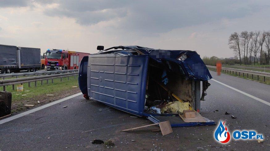 Wypadek na A-2 w Chełmnie OSP Ochotnicza Straż Pożarna