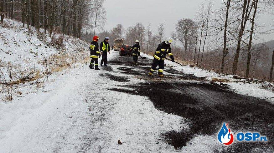 Utrudnienia na drogach - akcja na górze Jawor OSP Ochotnicza Straż Pożarna