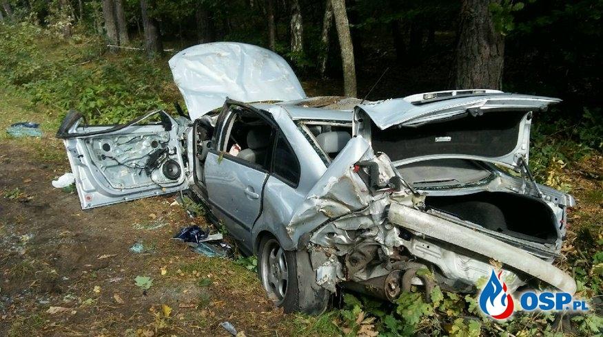 Wypadek na drodze wojewódzkiej nr 209 Korzybie - Tychowo 27.09.2019r. OSP Ochotnicza Straż Pożarna