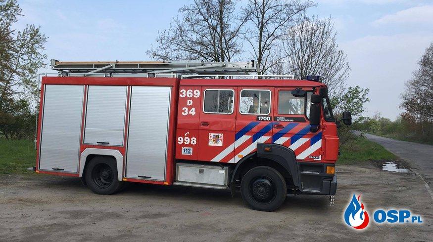 Alarm z centralki przeciwpożarowej na wysypisku śmieci OSP Ochotnicza Straż Pożarna
