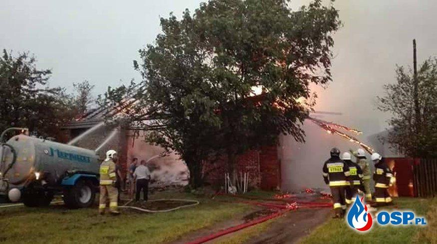 Wyjazd do obalonego drzewa i pożaru po przejściu burzy. OSP Ochotnicza Straż Pożarna