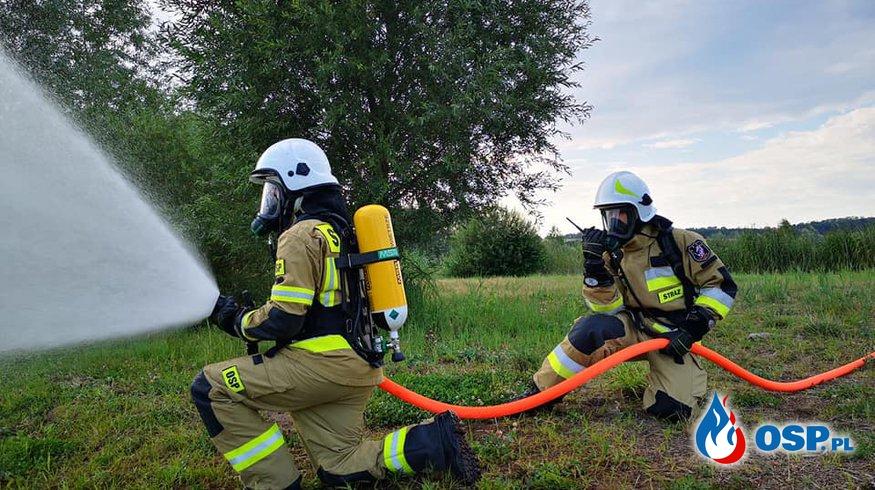 Ćwiczenia z wykorzystaniem nowego sprzętu OSP Ochotnicza Straż Pożarna