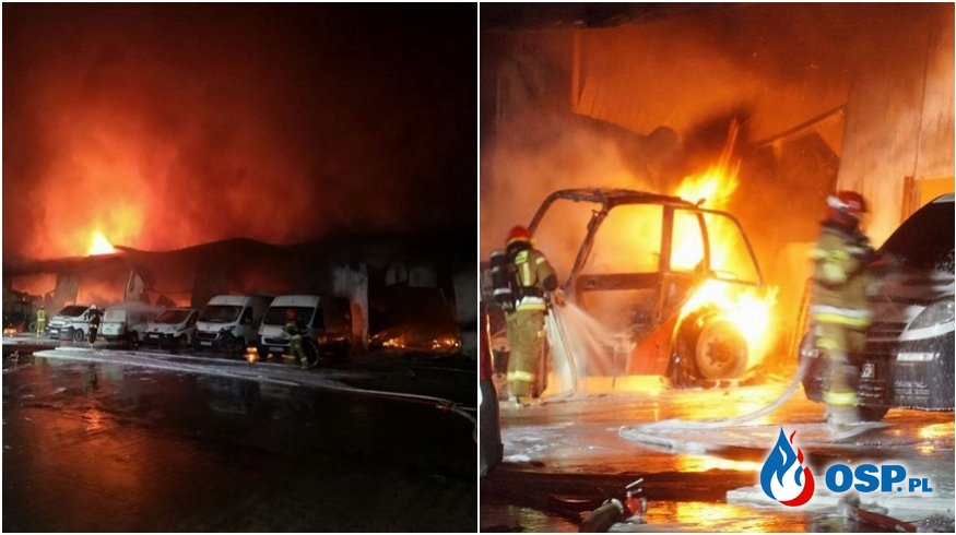Spłonęła hala z maszynami rolniczymi. Pożar gasiło 15 zastępów straży pożarnej. OSP Ochotnicza Straż Pożarna