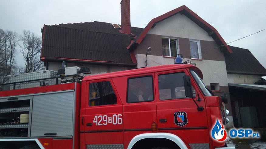 30.03 Pożar przewodu kominowego m. Bińcze OSP Ochotnicza Straż Pożarna