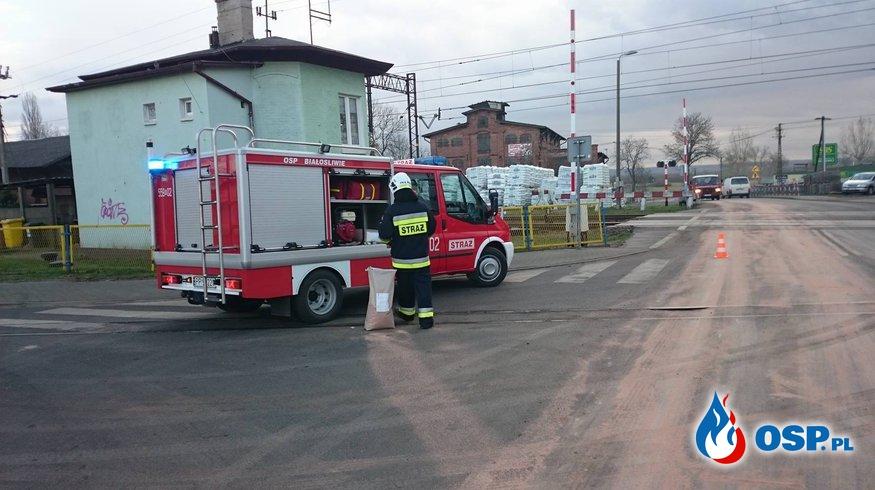 Plama na drodze wojewódzkiej numer 190 OSP Ochotnicza Straż Pożarna