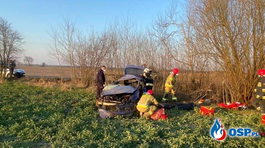 Audi koziołkowało, kierowca i pasażer wypadli z auta. Jeden z nich zginął. OSP Ochotnicza Straż Pożarna