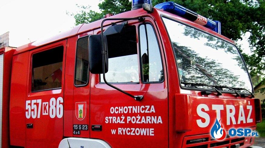 Zabezpieczenie uszkodzonego słupa – Ryczów ul. Spokojna OSP Ochotnicza Straż Pożarna