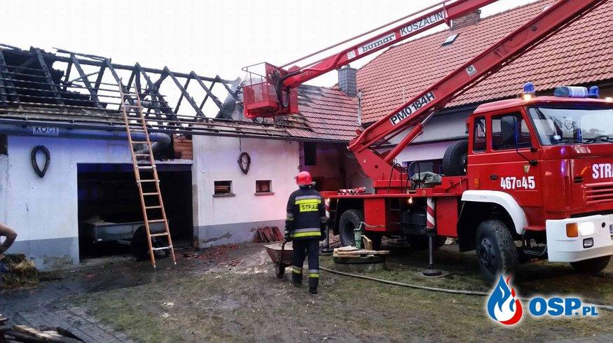 Pożar stolarni w miejscowości Sucha. OSP Ochotnicza Straż Pożarna