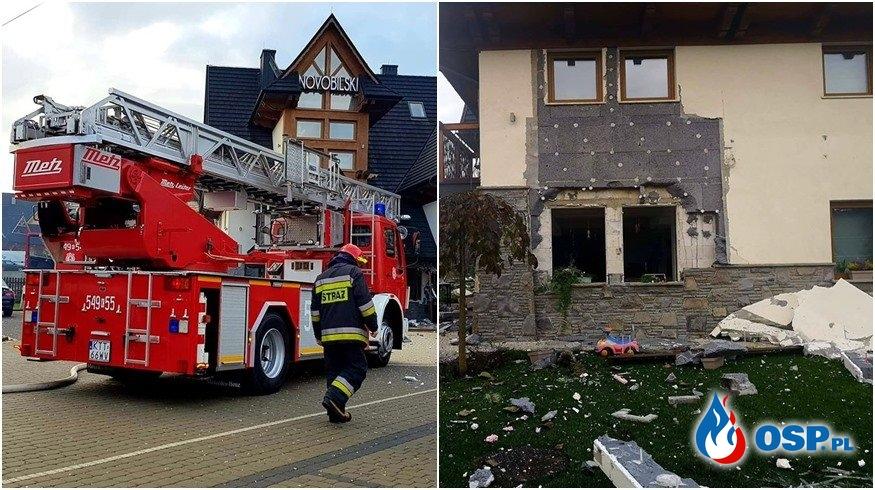 Eksplozja gazu w hotelu w Białce Tatrzańskiej. 6 osób poszkodowanych. OSP Ochotnicza Straż Pożarna