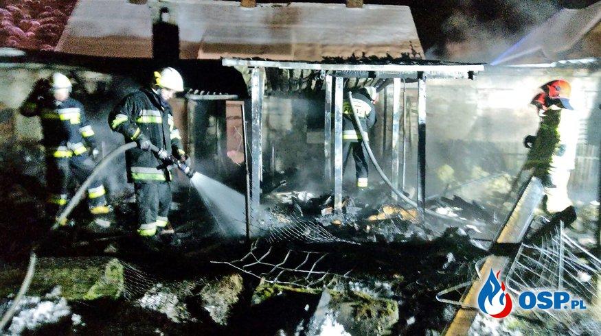 Pożar zabudowania gospodarczego-Karnice, 13.02.2021r. OSP Ochotnicza Straż Pożarna