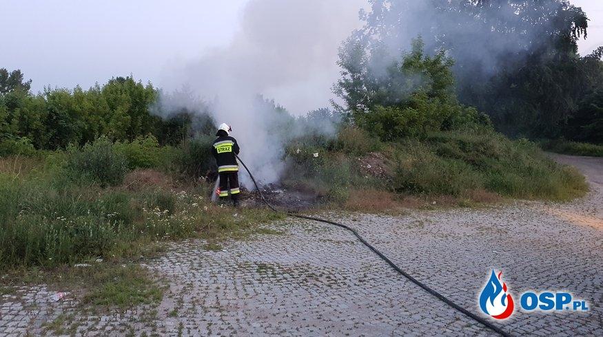 Pożar śmieci i pozostałości roślinnych na stacji PKP w Białej OSP Ochotnicza Straż Pożarna