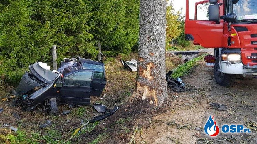 Kierowca zasnął za kierownicą, rozbił auto na drzewie. Zginął pasażer. OSP Ochotnicza Straż Pożarna