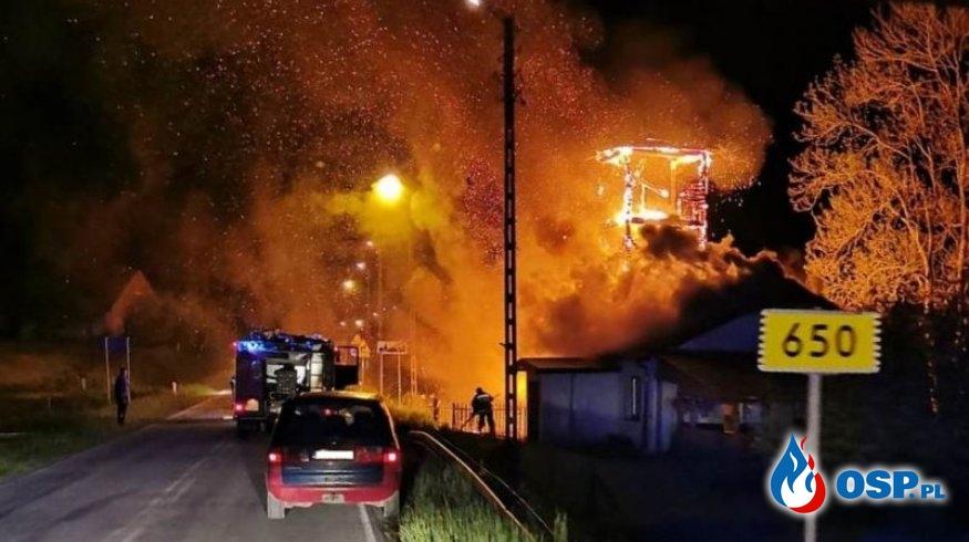Spłonęła wieża dawnej remizy OSP w Grabowie OSP Ochotnicza Straż Pożarna