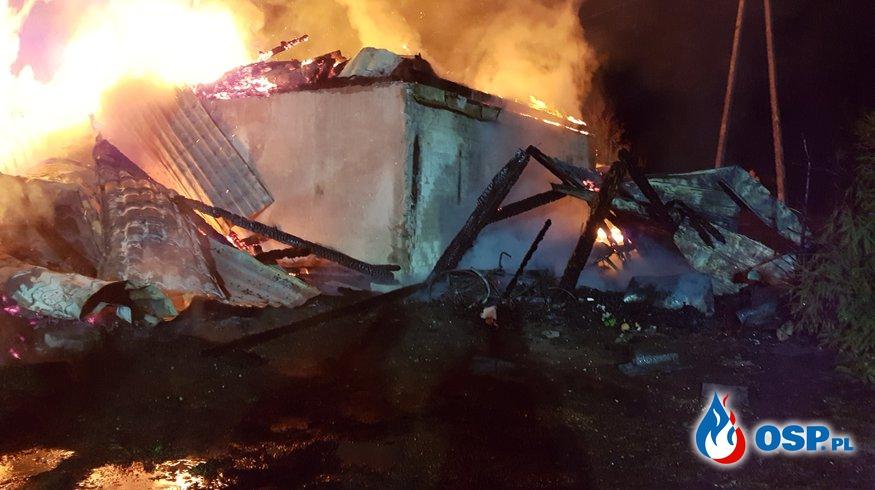 20-10-2018 (Sobota) Pożar zabudowań gospodarczych,samochodu oraz butli z gazem OSP Ochotnicza Straż Pożarna
