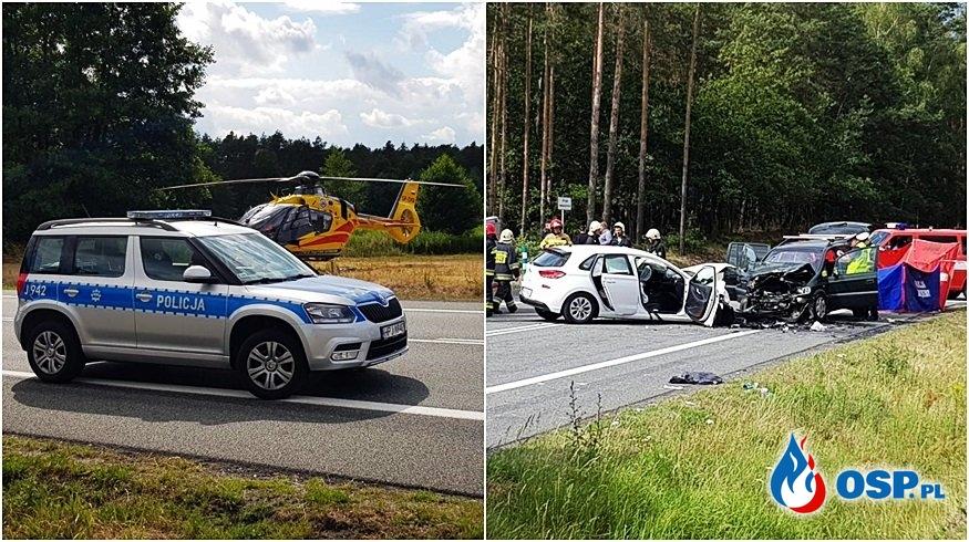Czołowe zderzenie podczas wyprzedzania pod Opolem. Zginęła jedna osoba, 5 jest rannych. OSP Ochotnicza Straż Pożarna