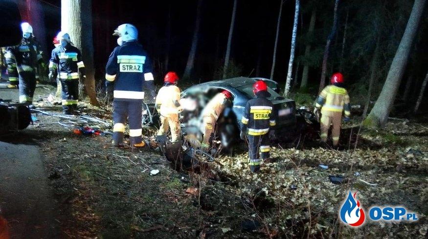 Samochód wypadł z drogi i uderzył w drzewo. Kierowca zginął. OSP Ochotnicza Straż Pożarna