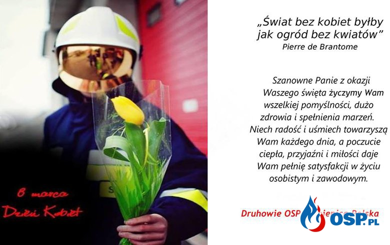 Dzień Kobiet. 8 marca. Życzenia. OSP Ochotnicza Straż Pożarna