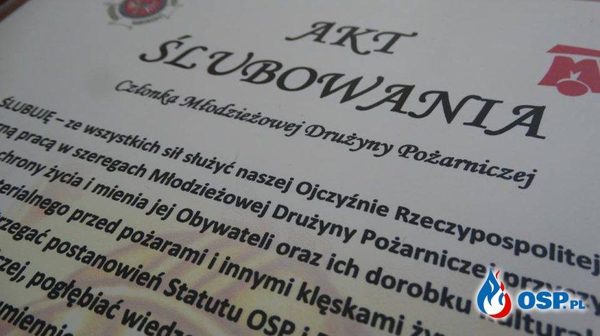 Uroczyste ślubowanie na sztandar i pasowanie członków Młodzieżowej Drużyny Pożarniczej OSP Ochotnicza Straż Pożarna