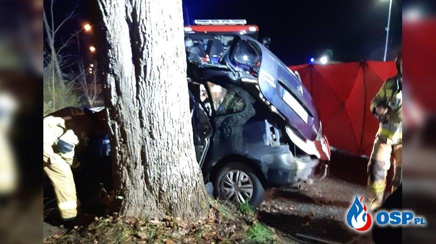 Dwie osoby zginęły w wypadku na Pomorzu. Auto uderzyło w drzewo. OSP Ochotnicza Straż Pożarna