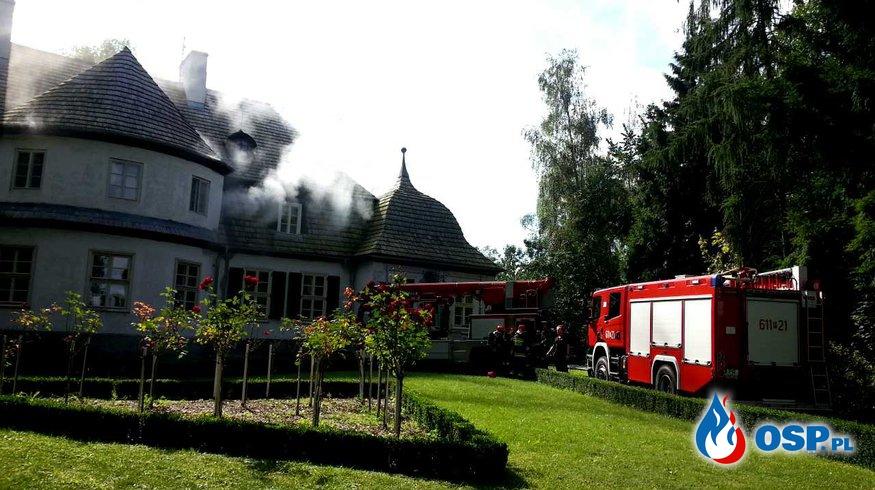 Pożar Dworu w Koszutach - ćwiczenia OSP Ochotnicza Straż Pożarna