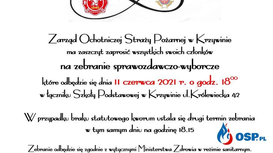 Zaproszenie na zebranie sprawozdawczo-wyborcze OSP Ochotnicza Straż Pożarna