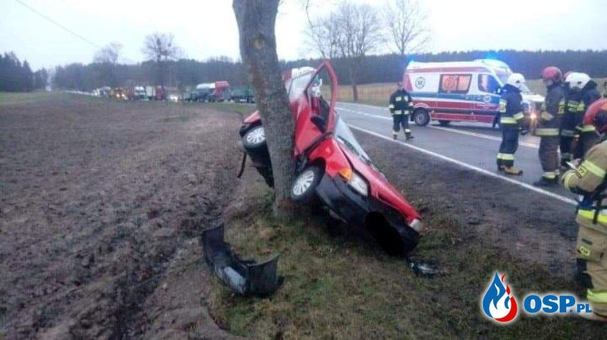 Wypadek drogowy Stare Kielbonki - Mojtyny DK 59 11.02.2020 OSP Ochotnicza Straż Pożarna