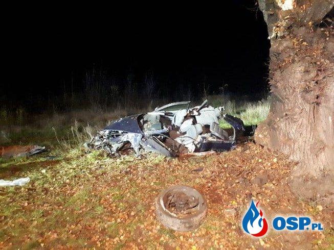 Dwóch 19-latków zginęło na Lubelszczyźnie. Auto roztrzaskało się na drzewie. OSP Ochotnicza Straż Pożarna