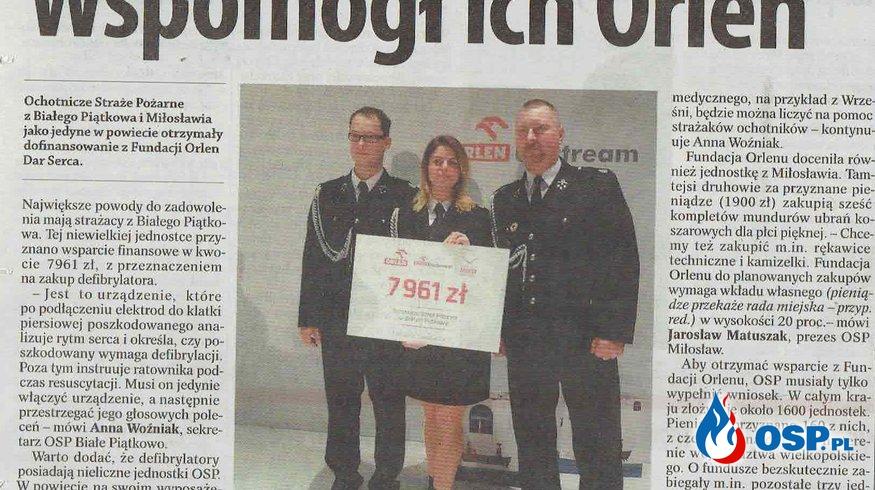 "Fundacja Orlen ""Dar serca"" - mamy defibrylator AED OSP Ochotnicza Straż Pożarna"