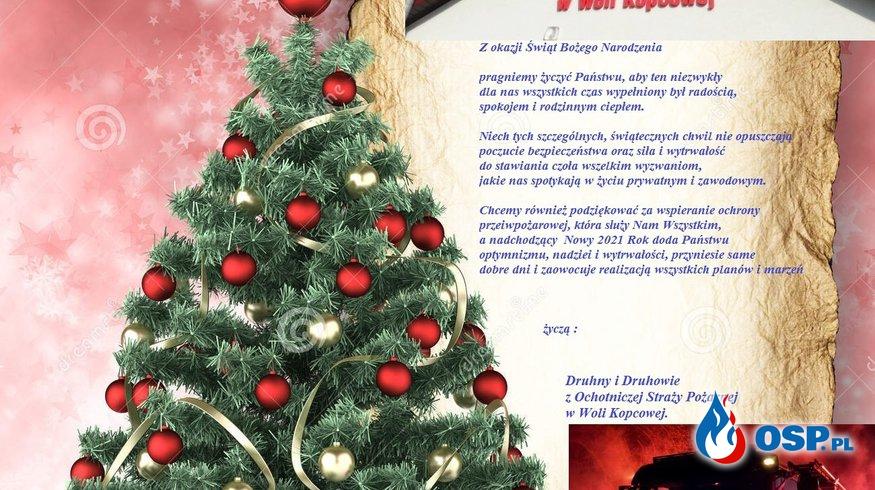 OSP Wola Kopcowa życzy Wesołych Świąt i Szczęśliwego Nowego 2021 roku OSP Ochotnicza Straż Pożarna