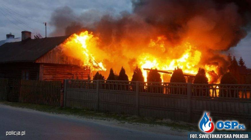 Policjanci uratowali mężczyznę z płonącego domu OSP Ochotnicza Straż Pożarna