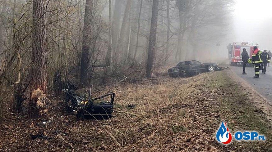 Auto rozpadło się na części po zderzeniu z drzewem. Zginął 38-letni kierowca. OSP Ochotnicza Straż Pożarna