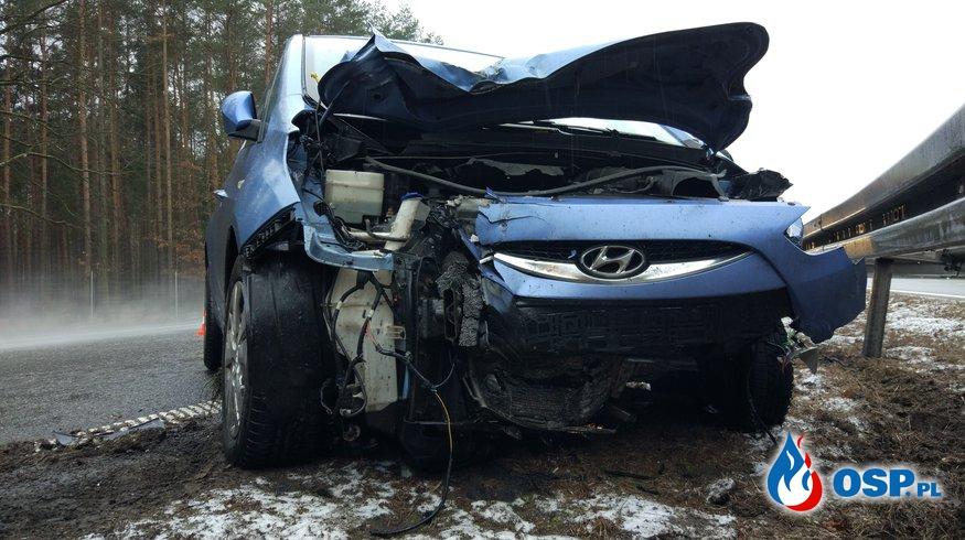 Kierujący samochodem osobowym wjechał w patrol A4 OSP Ochotnicza Straż Pożarna