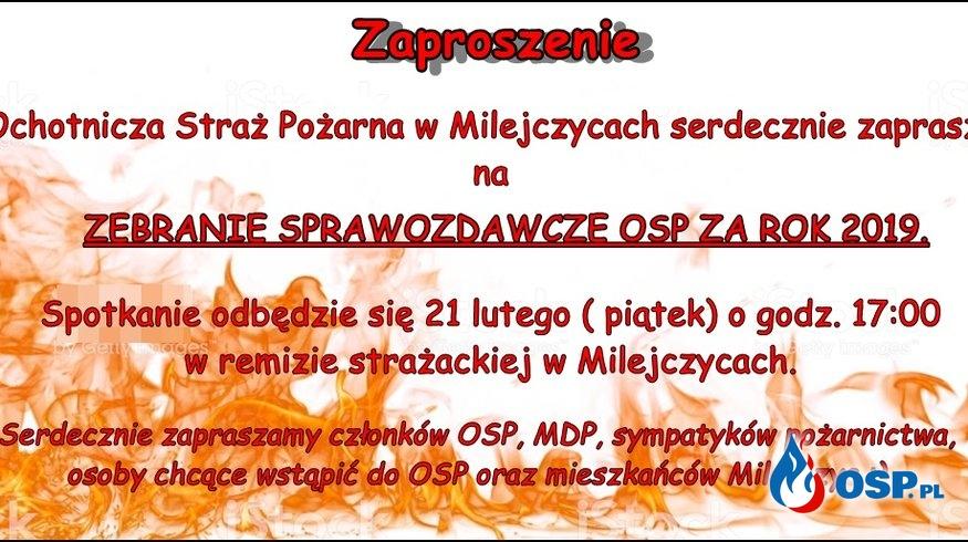 Zaproszenie na zebranie OSP OSP Ochotnicza Straż Pożarna