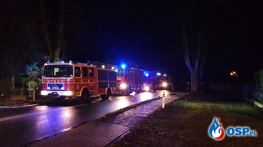 Pożar budynku gospodarczego. Lędzin 31.01.2020r. OSP Ochotnicza Straż Pożarna