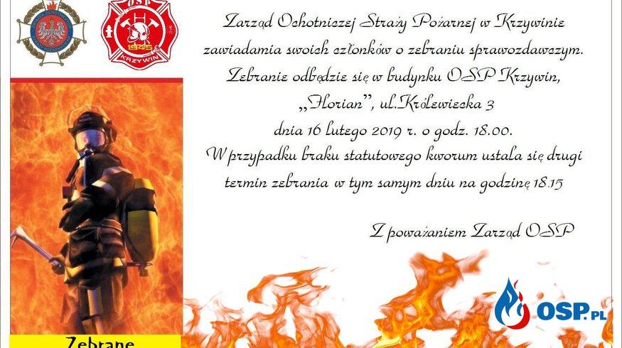 Zaproszenie na zebranie sprawozdawcze za 2018 r. OSP Ochotnicza Straż Pożarna