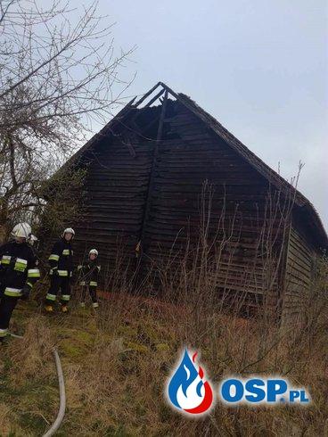 Pożar budynku gospodarczego w Turznicy 08.04.2017 OSP Ochotnicza Straż Pożarna