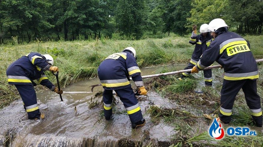Lokalne podtopienia skutkiem intensywnych opadów deszczu OSP Ochotnicza Straż Pożarna