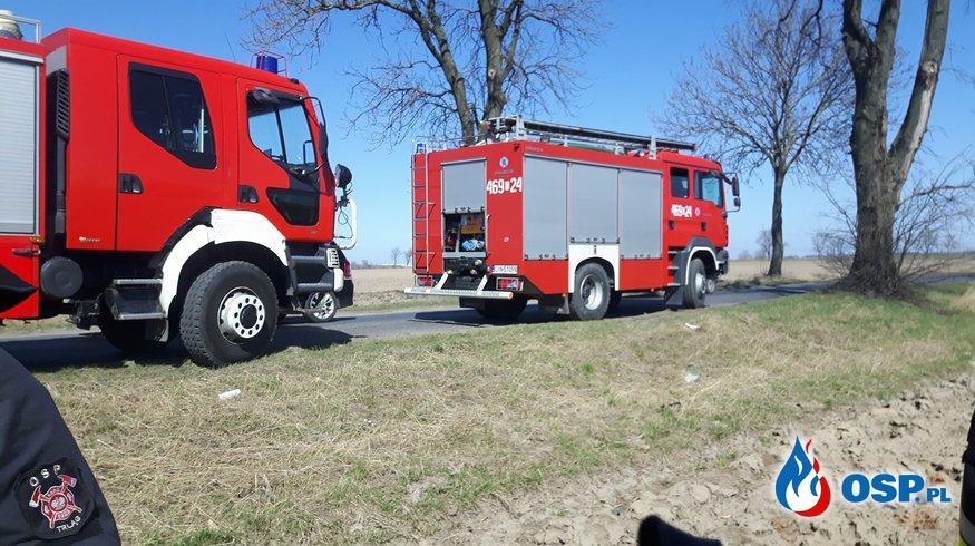 06.04.18 12:10 - ZDARZENIE DROGOWE, DP 2553C na odcinku Janikowo - Węgierce OSP Ochotnicza Straż Pożarna