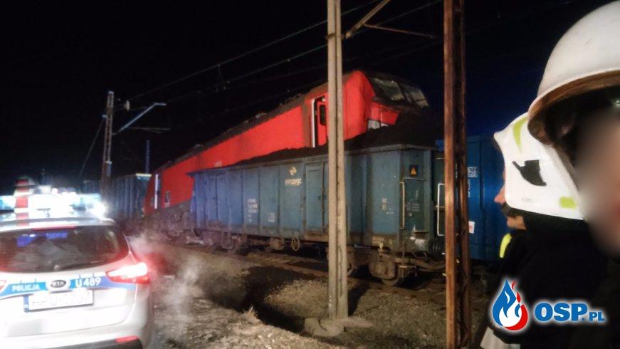 Zderzenie pociągów towarowych OSP Ochotnicza Straż Pożarna