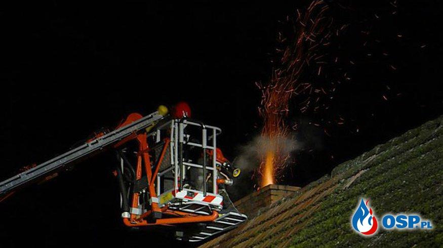 Pożar Komina w Zagórzu Gmina Lubrza OSP Ochotnicza Straż Pożarna