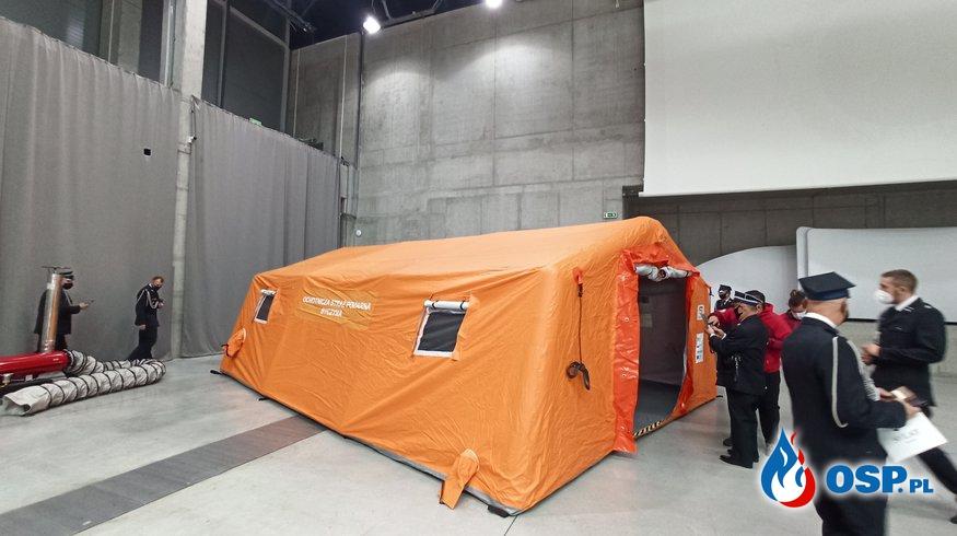 Namiot pneumatyczny z osprzętem, fumigator i inne wyposażenie do walki z COVID-19 OSP Ochotnicza Straż Pożarna