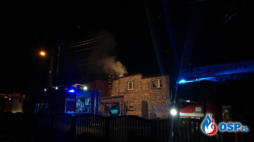 Pożar przewodu kominowego w Lubecku. OSP Ochotnicza Straż Pożarna
