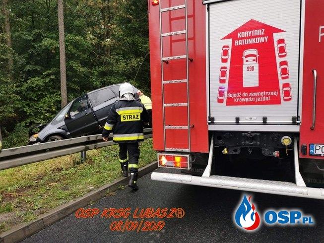 Wypadek samochodu osobowego OSP Ochotnicza Straż Pożarna