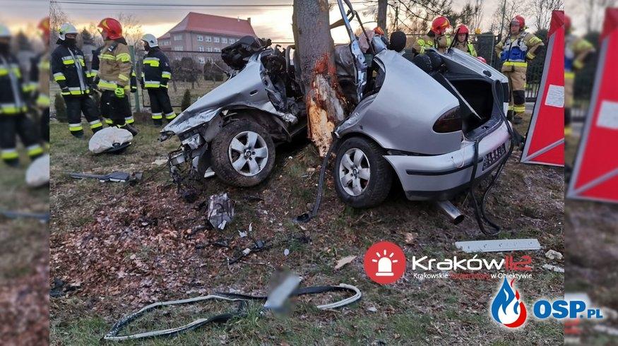 Seat leon owinął się wokół drzewa. W wypadku zginęły 2 osoby. OSP Ochotnicza Straż Pożarna