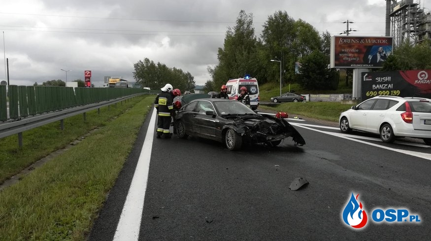 Wypadek samochodu osobowego na DK7 - 8 sierpnia 2019r. OSP Ochotnicza Straż Pożarna