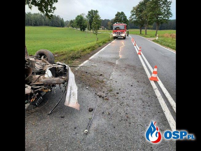 Wypadek drogowy Stare Kiełbonki-Mojtyny DK 59 OSP Ochotnicza Straż Pożarna