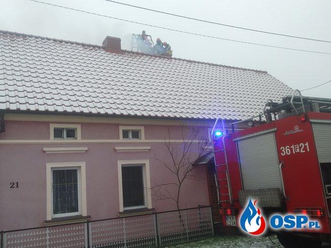 Pożar sady w przewodzie kominowym - Dobrosułów 04.01.2019 OSP Ochotnicza Straż Pożarna